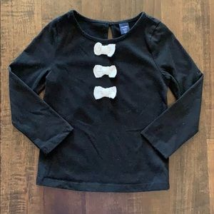 Gap black shirt with bow detail